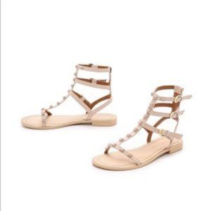 Rebecca Minkofff Georgina Studded Sandals 6 Tan